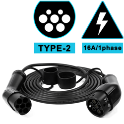 Cable for charging electric vehicles, Type 2 to type 2 16A - 1 Phase